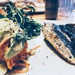 Mackerel with carrot spaghetti, watercress and avocado dressing