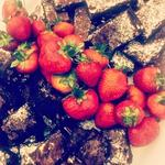 Double Chocolate Brownies & Maple Pecan Brownies with lots of local fresh strawberries