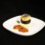 Figue rôtie au miel, Saint Maure, croustillant de jambon ibérique