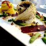 Merlan et poêlée forestière, gelée de soja tagliatelles fraîches basilique et tomate séchée