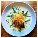 Pan-fried Sea Bass With Spring Vegetables, Tarragon Velouté and Straw Fries