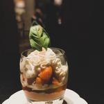 Abricots au basilic, chantilly vanille et mascarpone