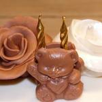 Roses et ourson pâte à sucre