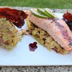 Pavé de saumon rôti au deux choux