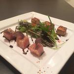 Thon albacore en deux cuissons mariné aux suprêmes d'agrumes.