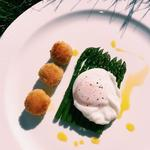 Asparagus spears, pecorino arancini, poached duck egg, white truffle oil