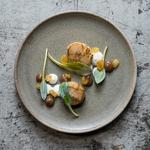My seared Mull scallops with sultana and Jerusalem artichoke