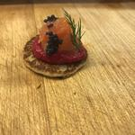 Buckwheat Blini Canapé with Beetroot, Smoked Salmon, Caviar & Dill