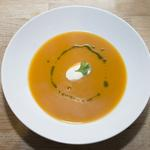 Spiced butternut squash soup with coriander oil