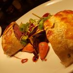 Fillet of irish beef wellington, Chantonay butter confit, Blue cheese crepe.