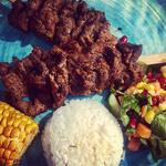 Thai BBQ - Beef Skewers with Coconut Rice, Mango Salad & Corn on the Cob