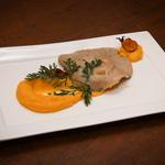 Raviole de canard et légumes, crémeux potiron