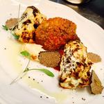 Tandoori spiced morels, wild mushroom tikki, girole raita, trufle, achar