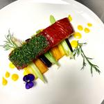 Cured salmon, carrot & fennel butter, poached winter vegetables & dill.