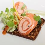 Smoked Salmon Roulade, Watercress, Rye bread, Keta.