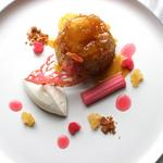 Stem ginger steamed pudding with brown butter syrup and poached rhubarb