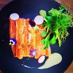Sashimi de truite cuit au sel et gingembre, mousse wasabi et jeune pousse