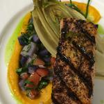 Sumac grilled Scottish salmon, purple potato salsa, braised endive