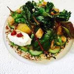 Tandoori tender-stem broccoli, quinoa salad, heritage beets, bulls blood, pomegranate raita