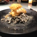 Tomato Cream Squid Ink Pasta with Squid Tempura
