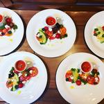 Tomato & Mozzarella Salad with Spiced Gazpacho