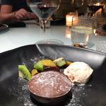 Chocolate Fondant with Fruit and Ice Cream