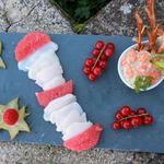 Saint-Jacques mariné au pamplemousse et tartare de saumon