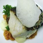 Gigha halibut, apricot and potato puree, crispy shallots, lime air
