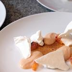 Blood orange curd, Italian meringue and coconut ice cream