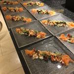 smoked salmon 2 ways, crayfish alfafa and edamame