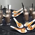 Velouté de champignons à la truffe et Noix de St Jacques poêlée, carotte fane glacée