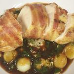 Pancetta wrapped corn fed chicken breast, Savoy cabbage, Parisenne potatoes, jus