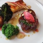 Pork shoulder, black pudding, kale, apple and rhubarb