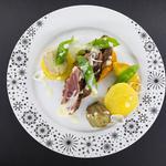 Demi magret de canard, déclinaison de légumes d'hiver et sauce gorgonzola