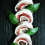 rouleaux mozzarella/aubergine/tomates confit