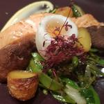 Wild salmon ,duck egg, wilted greens