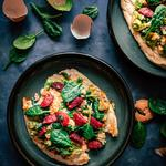 Warm Flatbreads, Chorizo, Scrambled Egg, Baby Spinach
