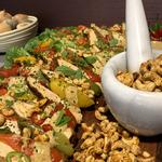 Tandoori chicken, cashew nut and mint salad board, great party food!