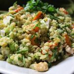 Salade de boulgour au butternut rôti, noix de cajou, cébette et persil
