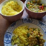 Plantain curry with lemon/thyme basmati rice