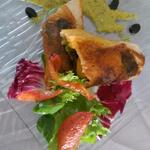 Croustillant aux cèpes ,tomates confites