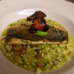 pea risotto with chourizo and sea bass