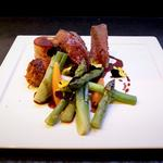 Pan fried duck breast, confit leg bon-bon, baby vegetables and star anise jus