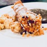 Sicilian cannoli with sweetened ricotta and a salted caramel ripple