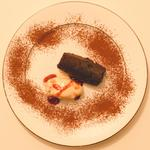 Chocolate juniper and sloe gin cake with damson ice cream