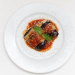 Aubergine rolls stuffed with Italian ham and scamorza cheese with tomato sauce