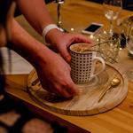 Cappuccino de crevette dans un bouillon de champignons