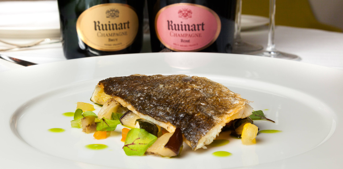 "Since 1729 - paired with ""R"" de Ruinart and Ruinart Rosé"